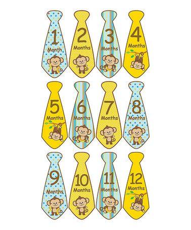 Another great find on #zulily! Monkey Tie Collection Monthly Sticker Set #zulilyfinds