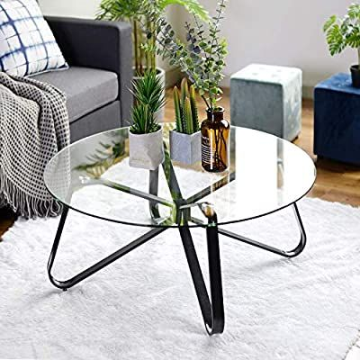 Amazon Com Warmcentre Round Coffee Table 32 Modern Glass Coffee