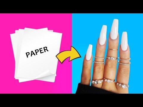 Diy How To Make Waterproof Fake Nails From Paper At Home Nail Hack Youtube In 2020 Fake Nails Diy Fake Nails For Kids Disney Acrylic Nails