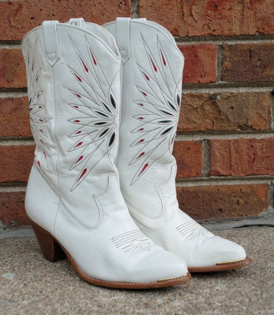 White Cowboy Boots - Cowgirl Dingo - Vintage 1980s - Inlay ...