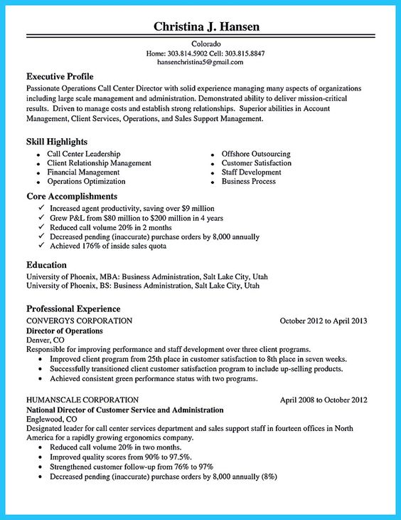 call center agent objectives sample resume