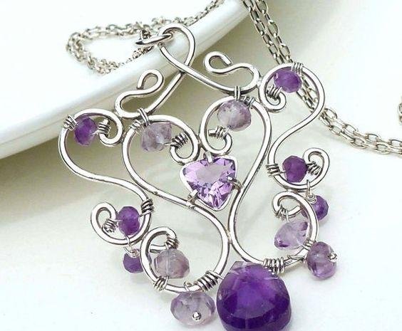361625045050546216 Sterling zilver Draad wrap ketting, amethist ketting, paars