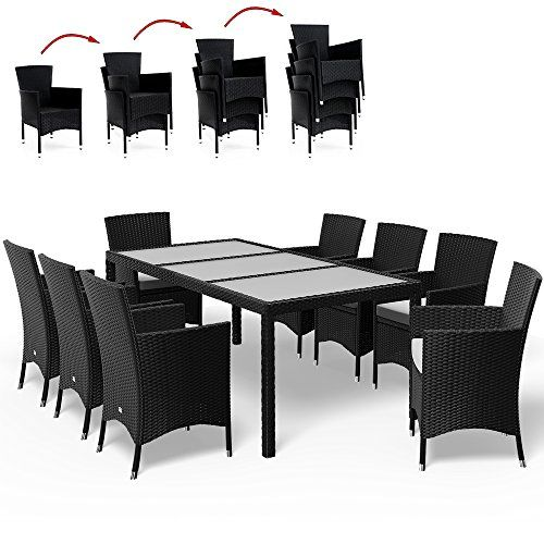 Salon de jardin 17 pcs polyrotin Ensemble table et chaises ...