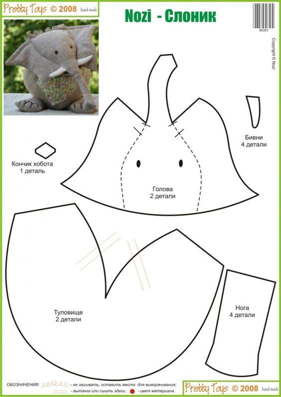 stuffed animal templates free - easy elephant pillows softies some to make