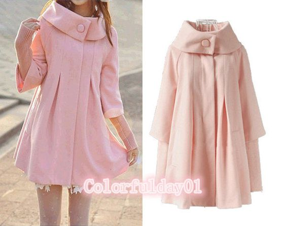 women&39s Princess style pink cape Fitted Wool Coat jacket Wool Cape