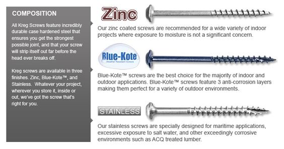 "Kreg Jig® Screws - Choosing the Right Screw - Zinc vs. Stainless vs ""Blue-Kote"""