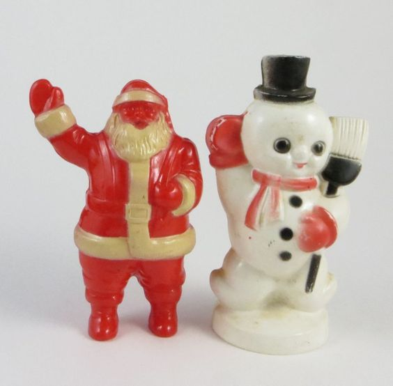 Vintage Snowman & Santa Claus Christmas Hard Plastic Ornament Candy Containter
