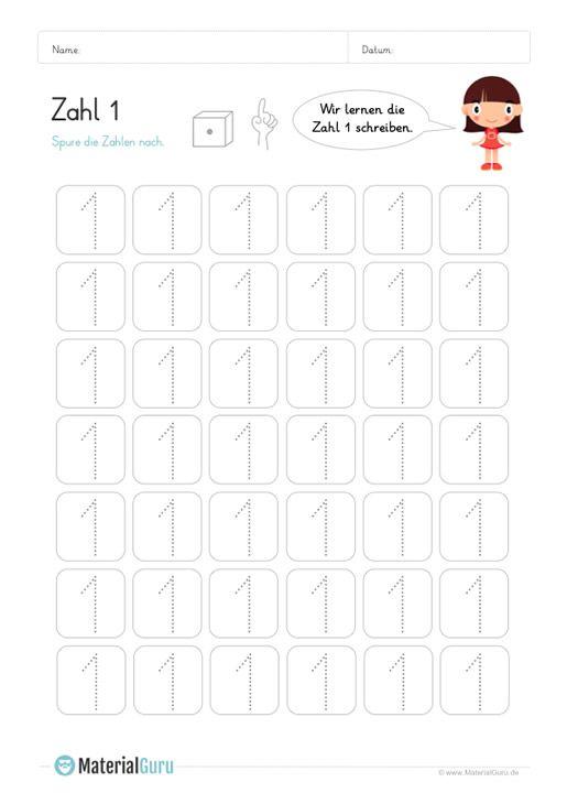 Ein Kostenloses Mathe Arbeitsblatt Zum Schreiben Lernen Der Zahl 1 Auf Dem Die Kinder Die Zahl 1 Meh Zahlen Schreiben Lernen Schreiben Lernen Zahlen Schreiben