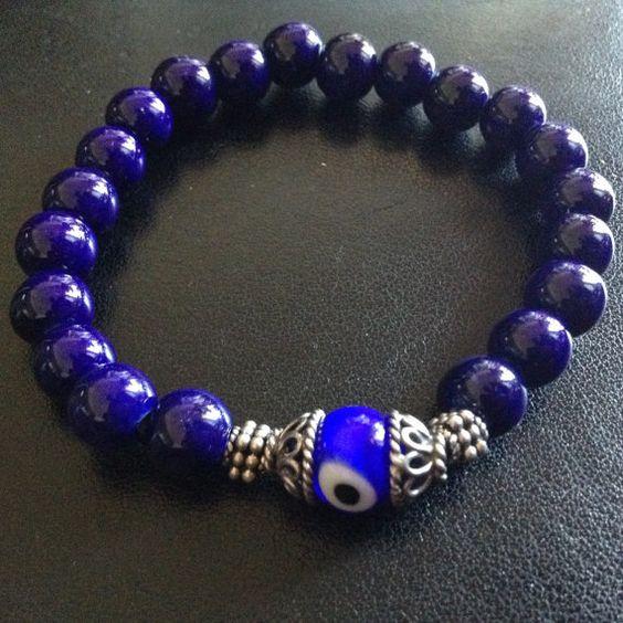 *BIRU* by Nicole J. Butler for DolliVotts! Glossy ceramic ultramarine blue beads surround an Indonesian silver...