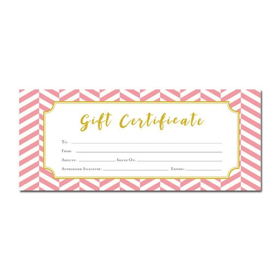 Pink And Gold Chevron Gift Certificate Download Premade Gift