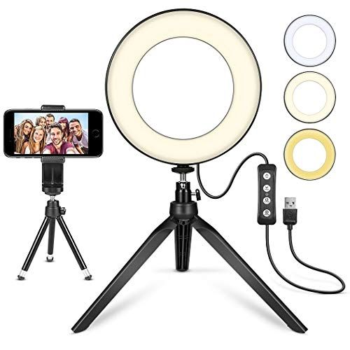 Led Ring Light 6 With Tripod Stand For Youtube Video And Makeup Mini Led Camera Light With Cell Phone Holder Deskto In 2020 Selfie Ring Light Led Ring Light Led Ring