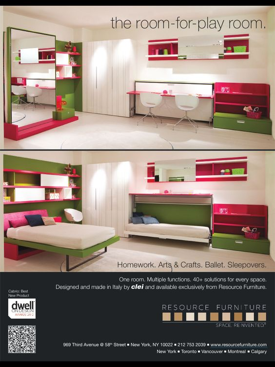Love the mirror back to help bring depth & disguise Murphy Kid room Murphy beds - perfect space savers!