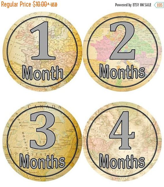 Baby Monthly Milestone Growth Stickers Vintage World Maps Travel – Travel Maps For Sale