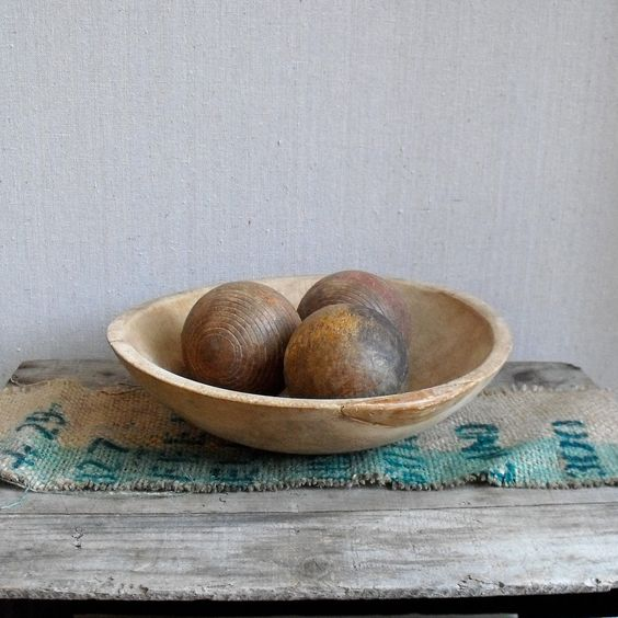 Antique Dough Bread Bowls Carved Wood Trencher Bowl