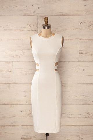 Sibay Light - White cut-outs golden halter midi dress
