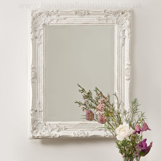 Vintage shabby chic white cream french ornate wall mirror for Antique style wall mirror
