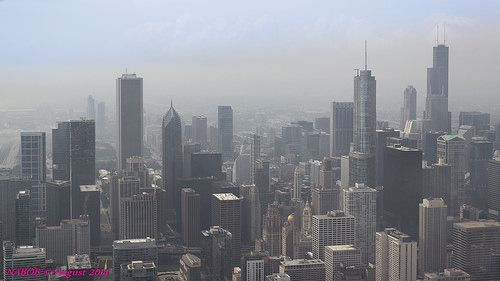 Chicago City Skyline viewed looking south - http://www.1pic4u.com/blog/2014/09/25/chicago-city-skyline-viewed-looking-south/