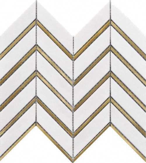 Inlay Brass Gold Chevron White Tile For Kitchen Backsplash Bathroom Wall And Feature Walls Free Shipping Order A Sampl Black Tiles Chevron Tile White Tiles