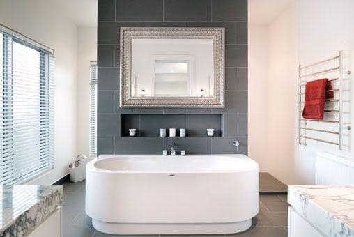 An award winning en-suite bathroom with charcoal grey floor and wall tiles. Kerferd Project | Atkinson Pontifex. The 2009 HIA-CSR Victorian Kitchen & Bathroom of the Year