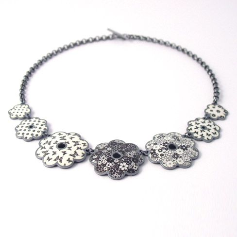 jane moore black and white daisy necklace. Enamel and oxidized silver