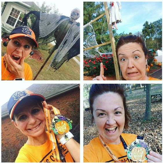 Why I love virtual runs. My super buddy @mrsauburnchick & I planned  to do the @goneforarun Halloween 5k today. So while we are states apart, we each ran 3.1 miles & earned that medal. Both had some pretty creepy things to run by too. 🎃 #5k #virtualrace #ghoulsontherun #spookymiles #runwithfriends #evenmilesapart #pressonandrun: