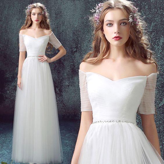 S 2016 nouvelle arrivée stock de maternité , plus la taille robe de mariée robe de soirée blanche à long sexy graduation diplômé 7591 dans Robes de soirée de Mariages et événements sur AliExpress.com | Alibaba Group