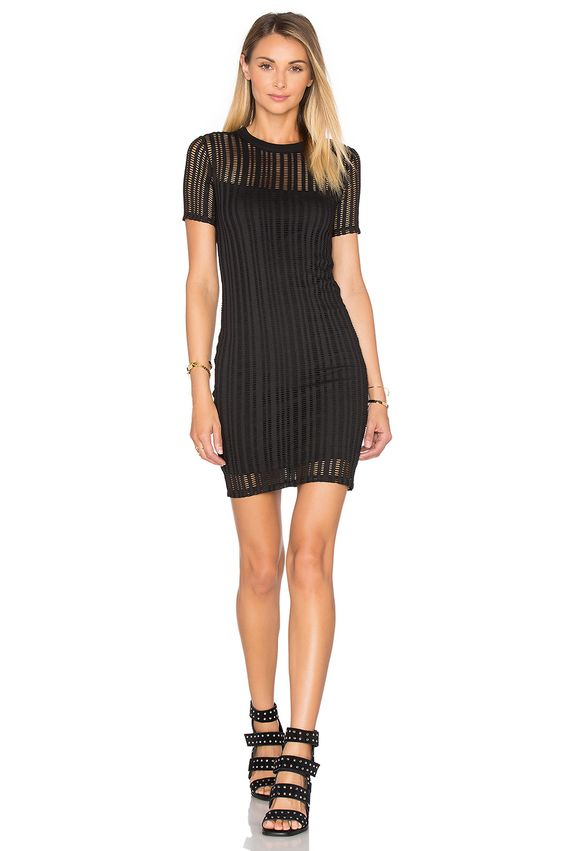 T by Alexander Wang Short Sleeve Fitted Dress in Black | REVOLVE