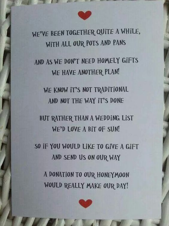 Wedding Gift Poem Charity : honeymoons home gifts gifts good ideas cute ideas ideas home wedding ...