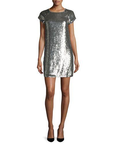 ALICE + OLIVIA Alice + Olivia Sherry Sequined Tee Dress, Gray. #alice+olivia #cloth #
