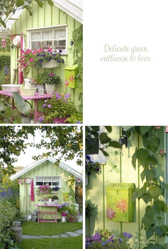 Sheds garden sheds and gardens on pinterest for Pretty garden sheds