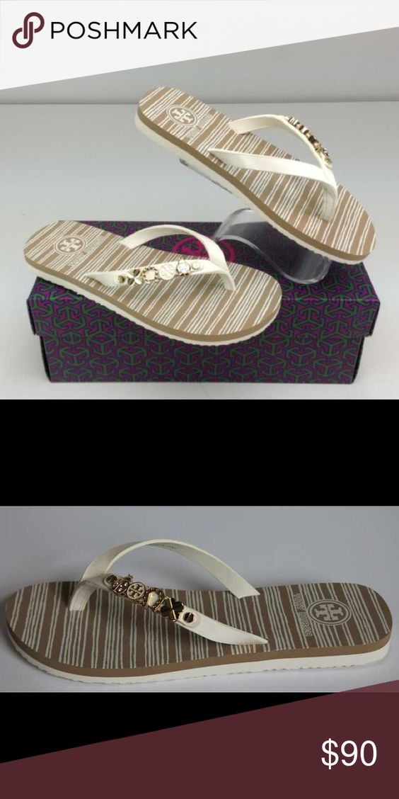 Brand New In Box Tory Burch Flip Flop ✨BRAND NEW IN BOX✨ 100% Authentic Tory Burch Kiley Flat Thong Flip Flop - Patent Saffiano COLOR: IVORY Style NO 51148214 Saffiano. <pictures taken from web> mine are still brand new in box--never been worn! Tory Burch Shoes Sandals