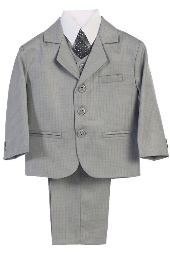 Light Grey Dress Suit 5 Piece with 3 Button Jacket, Vest, Necktie, Shirt & Pants (Boys to Husky Size 20H)