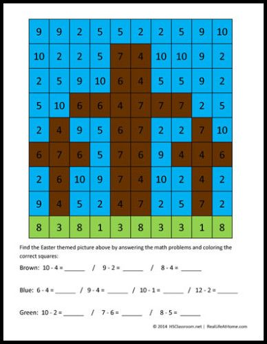Easter Math Activity: Crosses Mystery Picture Printables | Easter ...