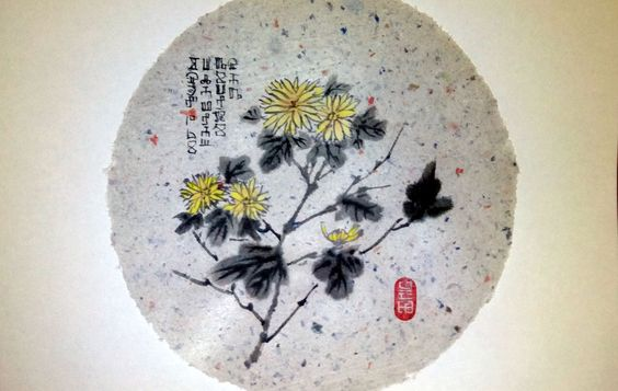 Chrysanthemums. Handmade Paper (finally I was able to make a round sheet), mineral paints, ink d = 19.5 cm