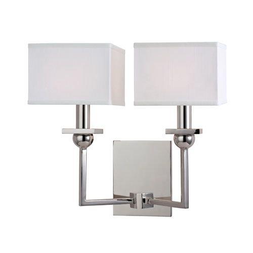 Morris Polished Nickel Two Light Wall Sconce With White Shade Hudson Valley 2 Light Armed