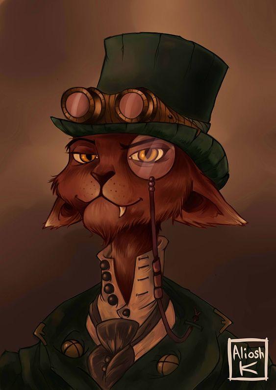 steampunk cat                                                       �