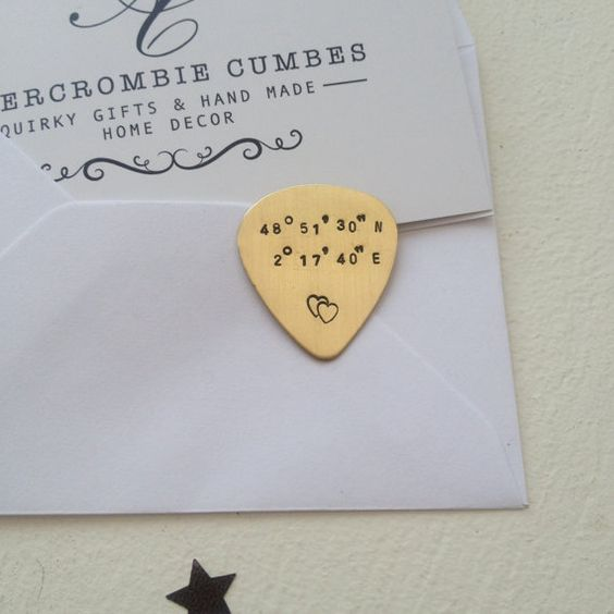 Custom coordinates plectrum - Hand stamped personalised brass plectrum - Guitar…