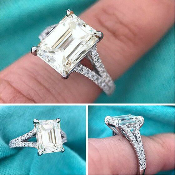 2.30ct Emerald Cut White Diamond Engagement /& Wedding Ring 925 Sterling Silver