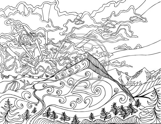 Pinterest the world s catalog of ideas for Sunset coloring pages for adults