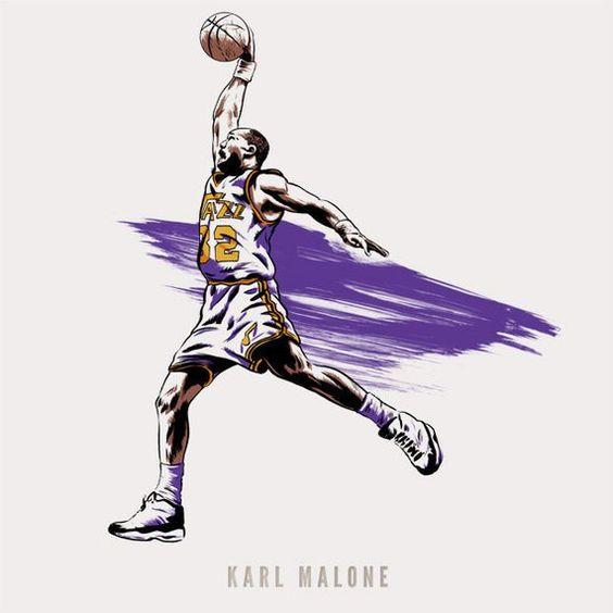 Basketball Nba Player Karl Malone Of The Utah Jazz Nba Etsy In 2021 Jazz Basketball Karl Malone Utah Jazz