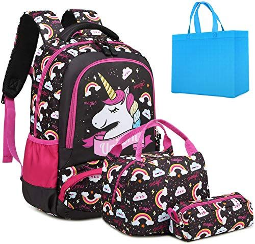 Cartoon Cute Waterproof Teen-girls Unicorn Sequin Backpack School Bag Handbag
