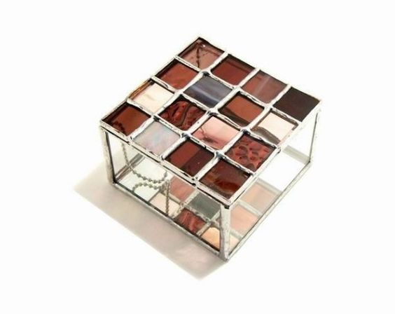 Stained Glass Box Burgundy by glassDaisys on Etsy, $35.00