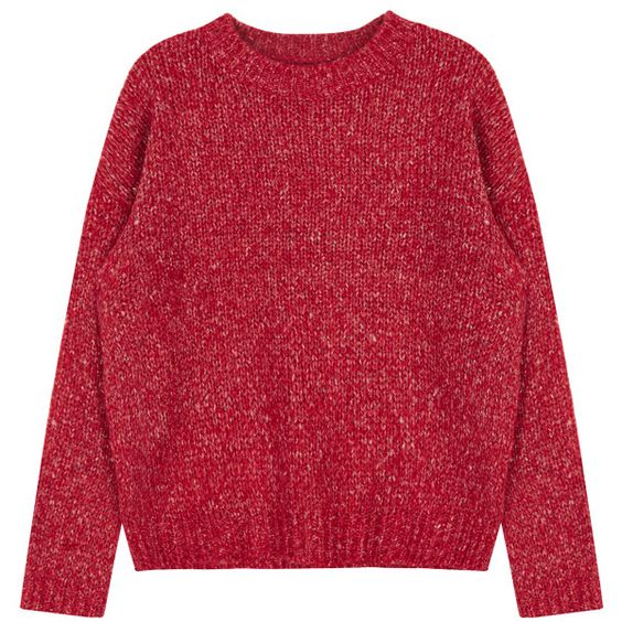 Regular Fit Knit Sweater ($22) ❤ liked on Polyvore featuring tops, sweaters, shirts, red, bunny shirt, red knit top, red sweater, red shirt and bunny sweater