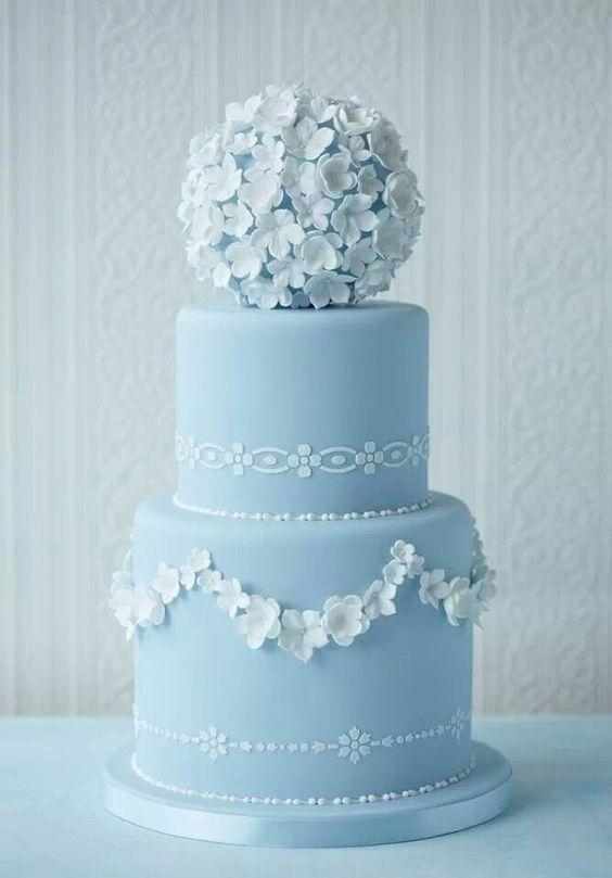 Wedgewood blue wedding cake with sugar flower pomander on top.