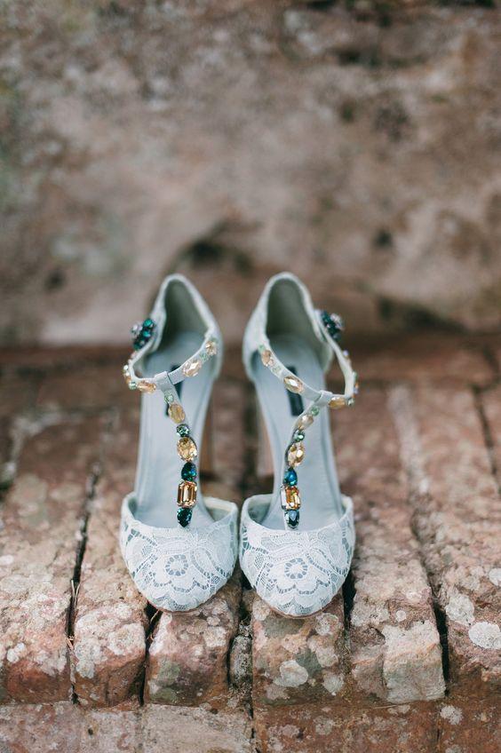 Dolce & Gabbana T-strap wedding shoes.