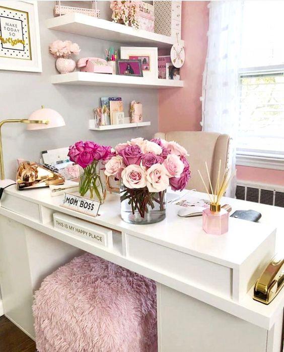 Home office moderno e elegante  Escritório em casa chic e Fofo 