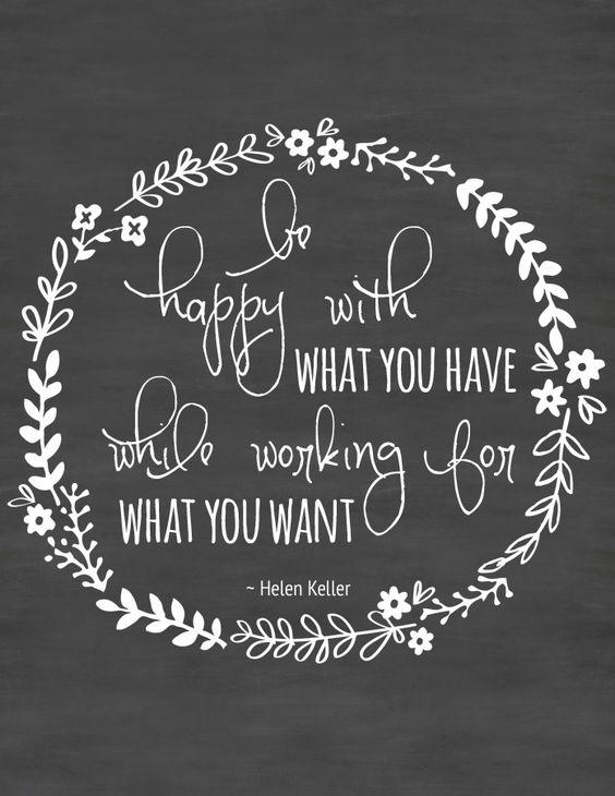 "Free Printable Wall Art ~ Inspirational Quote ""Be happy with what you have, while working for what you want."" ~Helen Keller:"