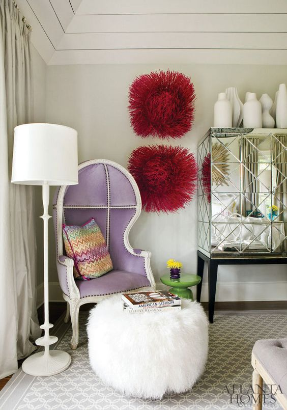 Purple chair, and fluffy poof. dustjacket attic: Traditional Twist