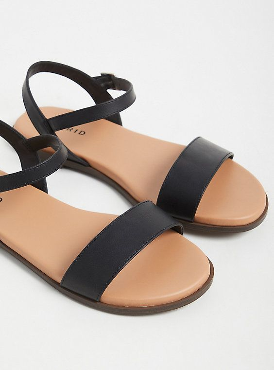 Black Faux Leather Ankle Strap Sandal Ww In 2020 Leather Strap Sandals Leather Gladiator Sandals Strap Sandals