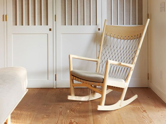 wood and woven back rocker